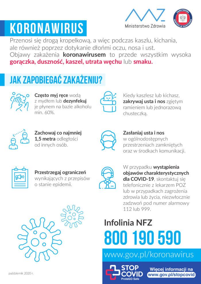 Plakat informujący jak zapobiegać zakażeniu koronawirusem. Numer na infolinię NFZ 800 190 590