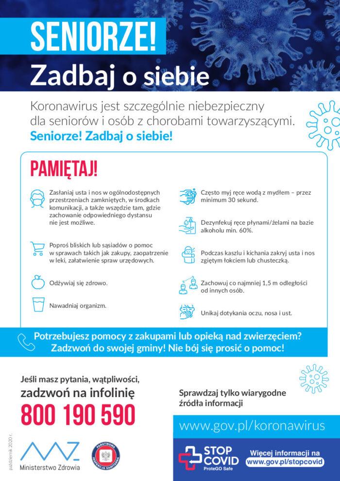 Plakat skierowany dla seniorów przypominający zasady zapobiegające zarażeniu koronawirusem. Numer na infolinię NFZ 800 190 590
