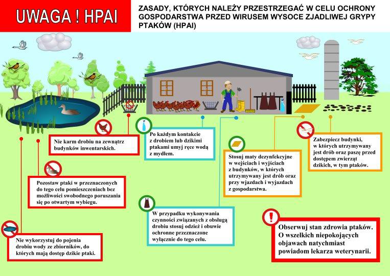 plakat z zasadami, których należy przestrzegać w celuochrony gospodarstwa przed wirusem HPAI