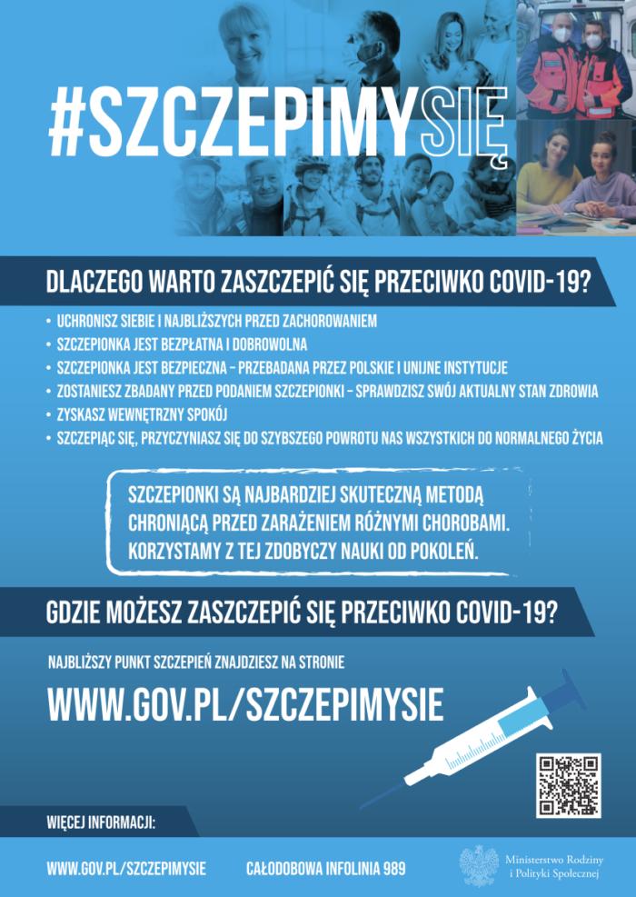 Plakat promujacy dlaczego warto zaszczepić się przeciwko COVID-19