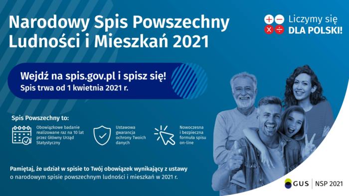 Plakat promoujący Narodowy Spis Powszechny Ludności i Mieszkań 2021