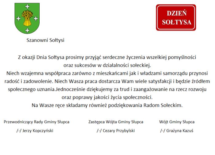 Życzenia dla sołtysów z okazji Dnia Sołtysa