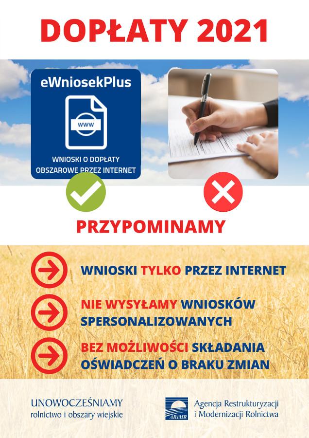 Plak informujący o składanie wnioskuów o dopłaty bezposrednie tylko przez Internet