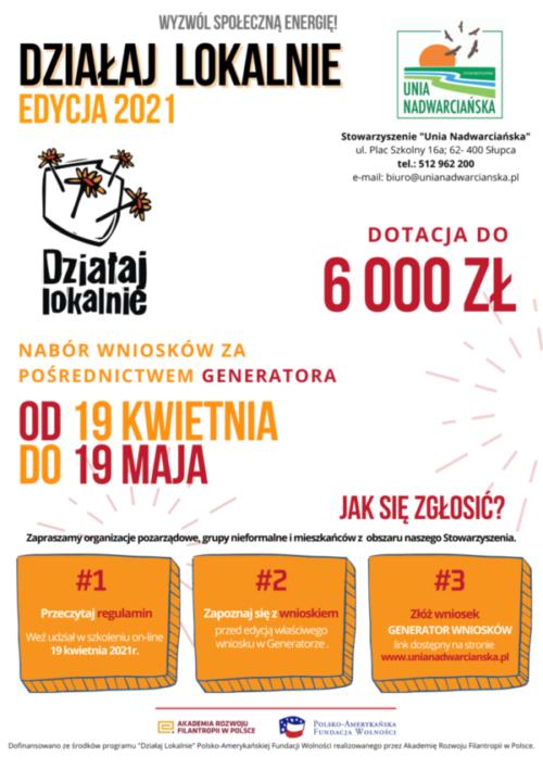 Plakat promujacy Konkurs Działaj Lokalnie