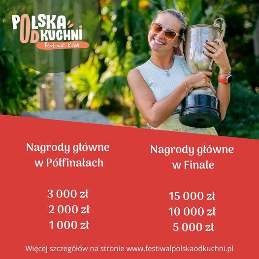 Plakat promujacy konkurs. Przedatwia nagrody główne w Półfinałach i Finale. Są to nagrody finansowe