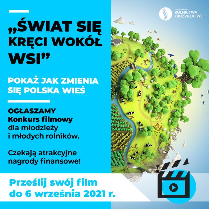 """Plakat promujący konkurs """"Świat się kręci wokół wsi"""""""