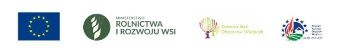 Baner z logo Uni Europejskiej, logo Ministerstwa Rolnictwa i Rozwoju Wsi, logo Krajowej Sieci Obszarów- Wiejskich, logo Programu Rozwoju Obszarów Wiejskich